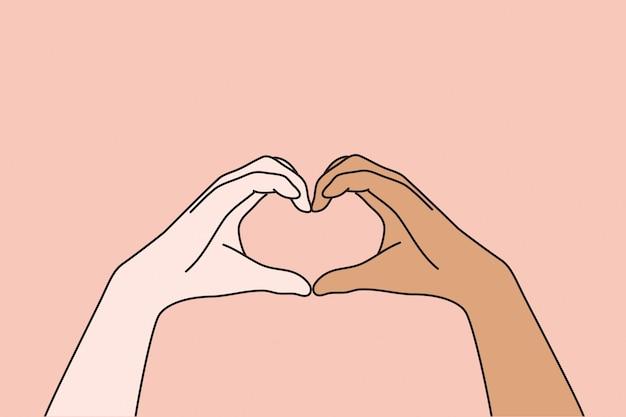 Concepto de amor multiétnico y multicultural.