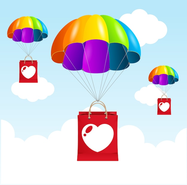 Concepto de amor de paracaídas de arco iris de ilustración. felices juntos