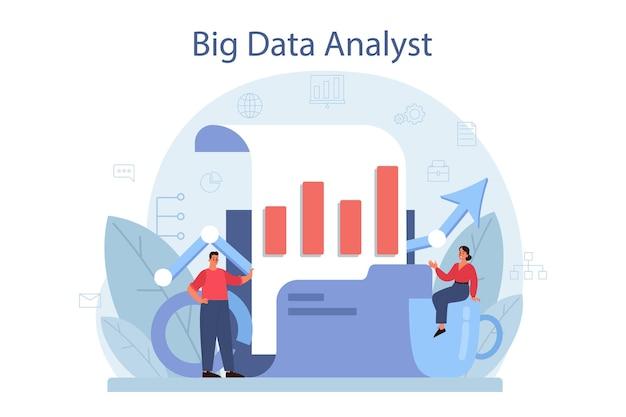 Concepto de análisis y análisis de big data de negocios. gráfico y gráfico, investigación de diagramas. realización de informe para optimización. ilustración vectorial plana