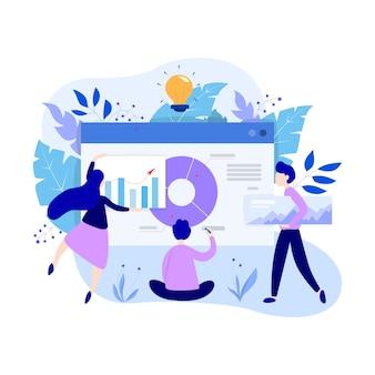 Concepto de análisis y análisis de datos comerciales. gráfico y gráfico, investigación de diagramas. realización de informe para optimización. ilustración