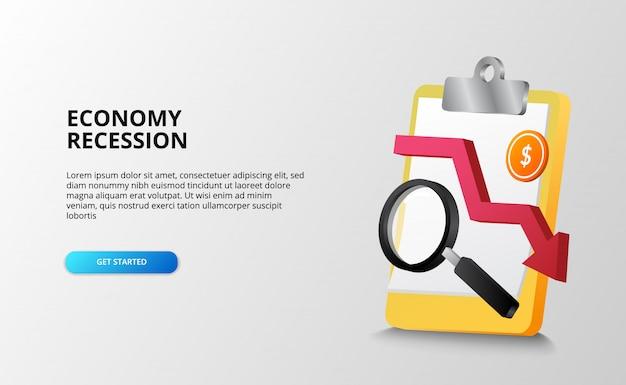 Concepto de análisis de crisis financiera de depresión y recesión económica con portapapeles, lupa y moneda de dólar. plantilla de página de destino