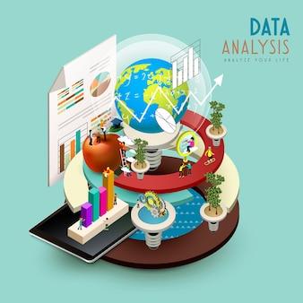 Concepto de análisis de datos en diseño plano isométrico 3d