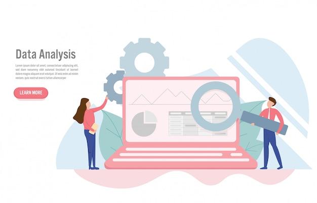 Concepto de análisis de datos en diseño plano.