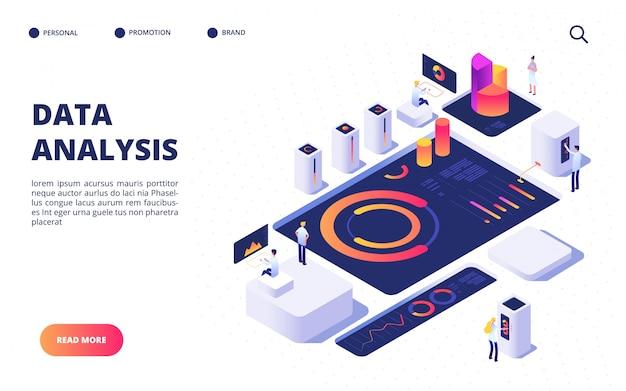 Concepto de análisis de datos. el equipo de negocios crea una infografía digital con tablero, cuadros y diagramas. diseño de página de aterrizaje