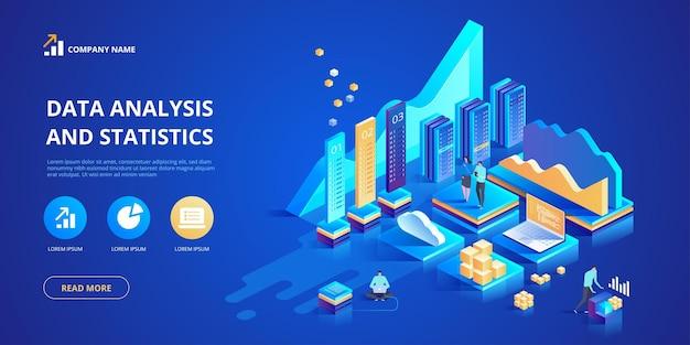 Concepto de análisis de datos y estadísticas. ilustración isométrica