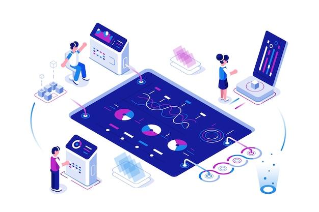 Concepto de análisis de datos grandes. los empresarios que trabajan en la computadora portátil expanden el gráfico, el cuadro de análisis