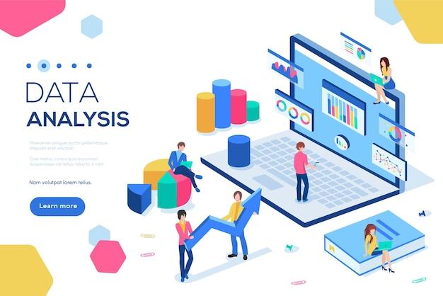 Concepto de análisis de datos con ilustración de personajes