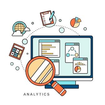 Concepto de análisis de datos: lupa con gráfico de negocios en estilo de línea