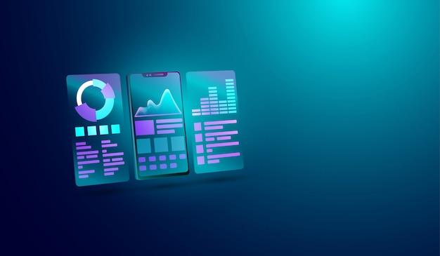 Concepto de análisis de datos en la pantalla del teléfono inteligente