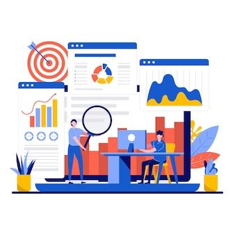Concepto de análisis de datos con un pequeño trabajo en equipo de análisis de carácter empresarial