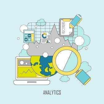 Concepto de análisis de datos del sitio web en estilo de línea fina