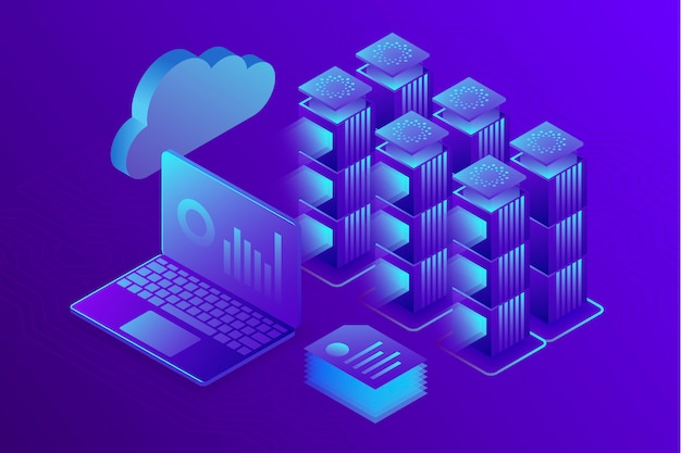 Concepto de análisis empresarial, centro de datos o fondo de sala de servidores de alojamiento. isometrico 3d
