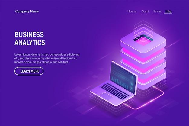 Concepto de análisis empresarial. computación en la nube. gran centro de datos. intercambio de datos entre computadora portátil y servidor