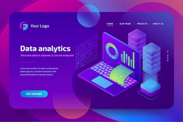 Concepto de análisis empresarial de datos financieros gráficos o diagramas, plantilla de página de destino. isométrica