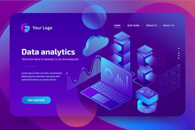 Concepto de análisis empresarial de datos financieros gráficos o diagramas, plantilla de página de destino. revisión financiera con laptop. ilustración isométrica 3d