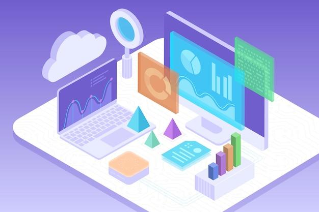 Concepto de análisis empresarial, estrategia de datos financieros gráficos o diagramas.