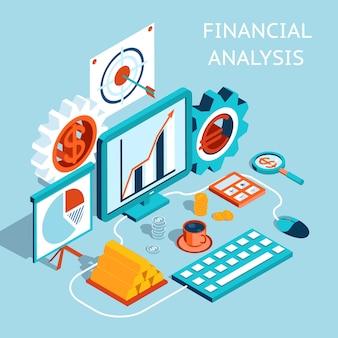Concepto de análisis financiero coloreado tridimensional sobre fondo azul claro.