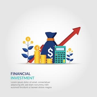 Concepto de análisis financiero y de inversiones para la ilustración de la estrategia empresarial. flecha de crecimiento hacia el éxito.