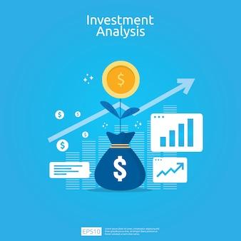 Concepto de análisis de inversión financiera para banner de estrategia de marketing empresarial