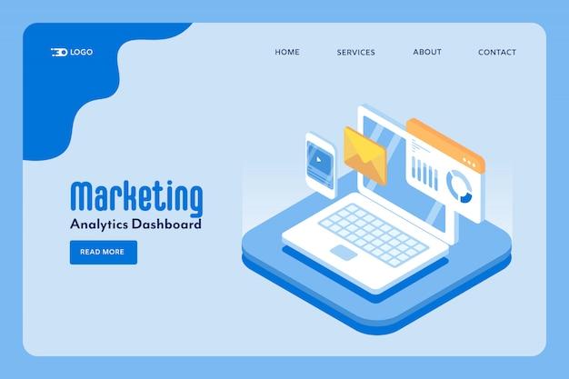 Concepto de análisis de marketing del sitio web