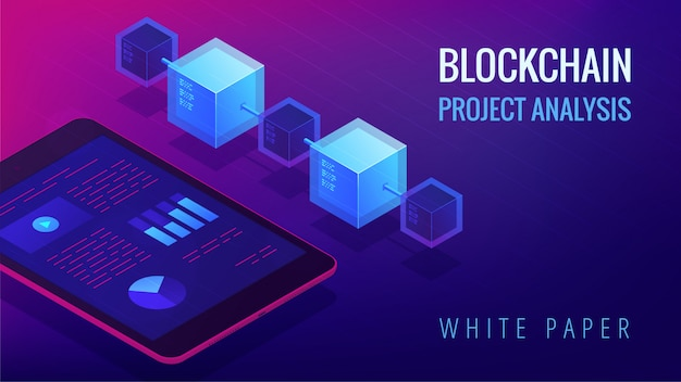 Concepto de análisis de proyecto de blockchain isométrico.