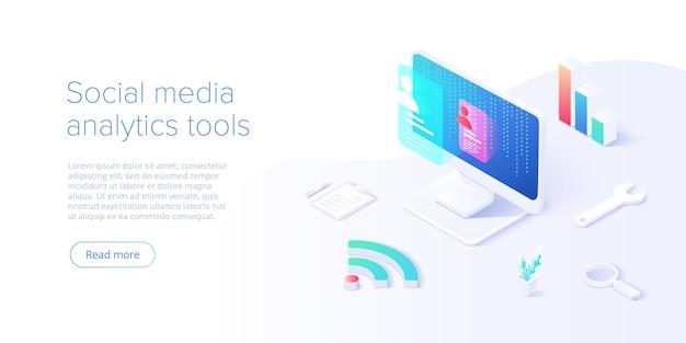 Concepto de análisis de redes sociales en la ilustración vectorial. actividad de usuarios o seguidores y estadísticas de la red. diseño de sitio web creativo o plantilla de página de destino. concepto de banner web.