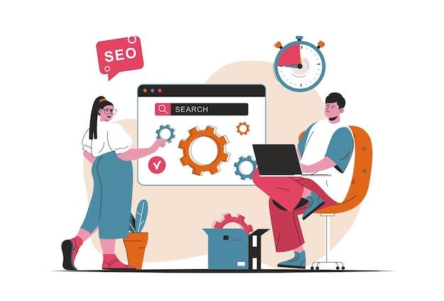 Concepto de análisis seo aislado. configurar y optimizar los resultados de búsqueda para el sitio. escena de personas en diseño plano de dibujos animados. ilustración vectorial para blogs, sitios web, aplicaciones móviles, materiales promocionales.