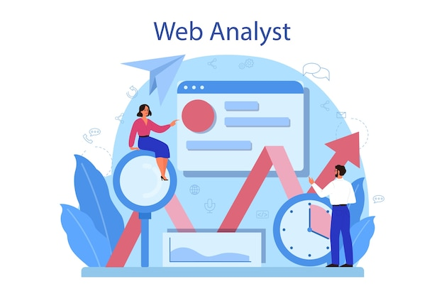 Concepto de analista de sitio web.
