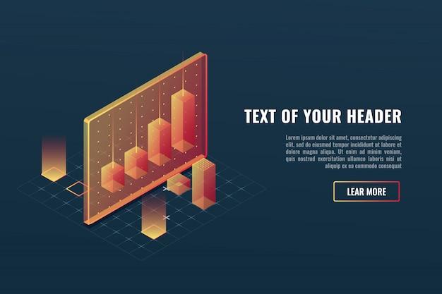 Concepto de analítica de negocios fresco, visualización de datos, infografía 3d
