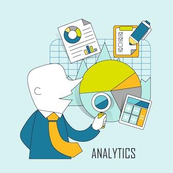 Concepto analítico: empresario comprobando datos y gráficos en estilo de línea