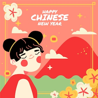 Concepto de año nuevo chino dibujado a mano