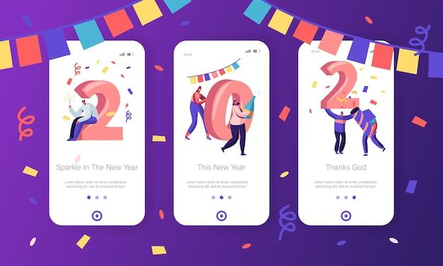 Concepto de año nuevo para el conjunto de pantallas integradas de la página de aplicaciones móviles.