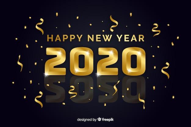 Concepto de año nuevo con diseño dorado.
