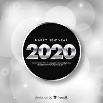 Concepto de año nuevo con diseño plateado