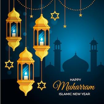 Concepto de año nuevo islámico plano