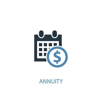 Concepto de anualidad 2 icono de color. ilustración simple elemento azul. diseño de símbolo de concepto de anualidad. se puede utilizar para ui / ux web y móvil