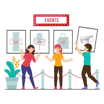 Concepto de anuncio de eventos cancelados