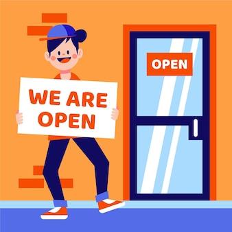 Concepto de apertura de tienda