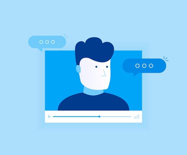 Concepto de aplicación de chat de video en línea, conversación por internet, tecnología de llamadas. ventana del reproductor de video con hombre hablando y mensajes. ilustración de estilo plano moderno