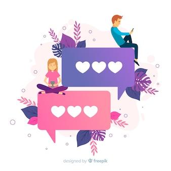 Concepto de aplicación de citas con emojis de corazón