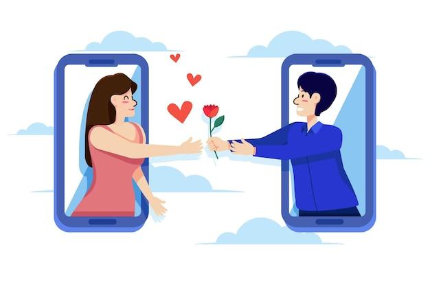 Concepto de aplicación de citas con hombre ofreciendo rosa