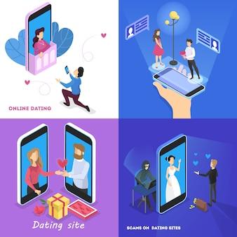 Concepto de aplicación de citas en línea. relación virtual y amor. comunicación entre personas a través de la red en el teléfono inteligente. combinación perfecta. ilustración