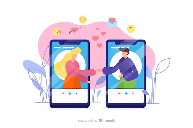 Concepto de aplicación de citas en pantallas de teléfonos móviles