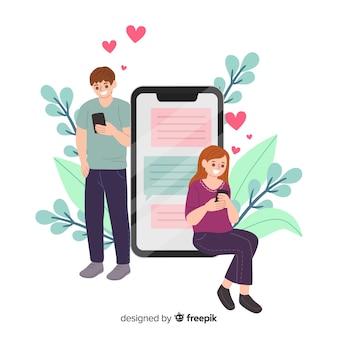 Concepto de aplicación de citas para redes sociales