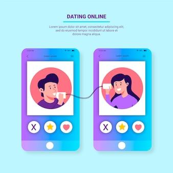 Concepto de aplicación de citas con teléfonos