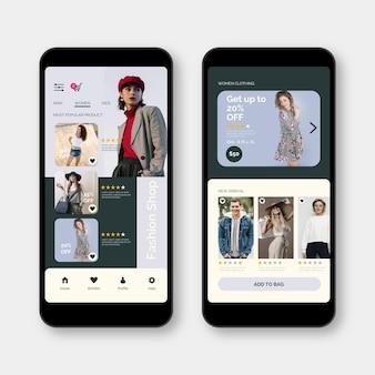 Concepto de aplicación de compras de moda