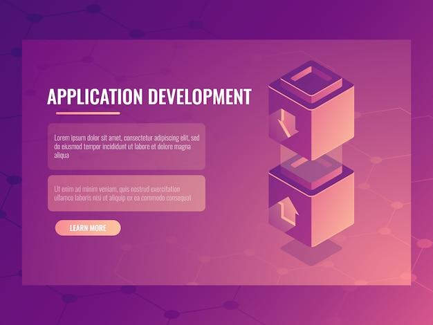 Concepto de aplicación de construcción y desarrollo.