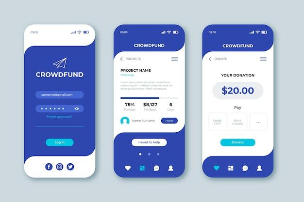 Concepto de aplicación de crowdfunding