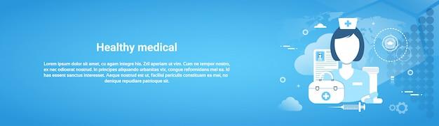 Concepto de aplicación de cuidado de la salud web banner horizontal