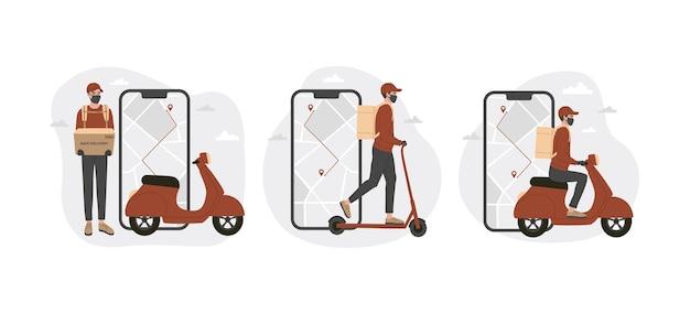 Concepto de aplicación de entrega online